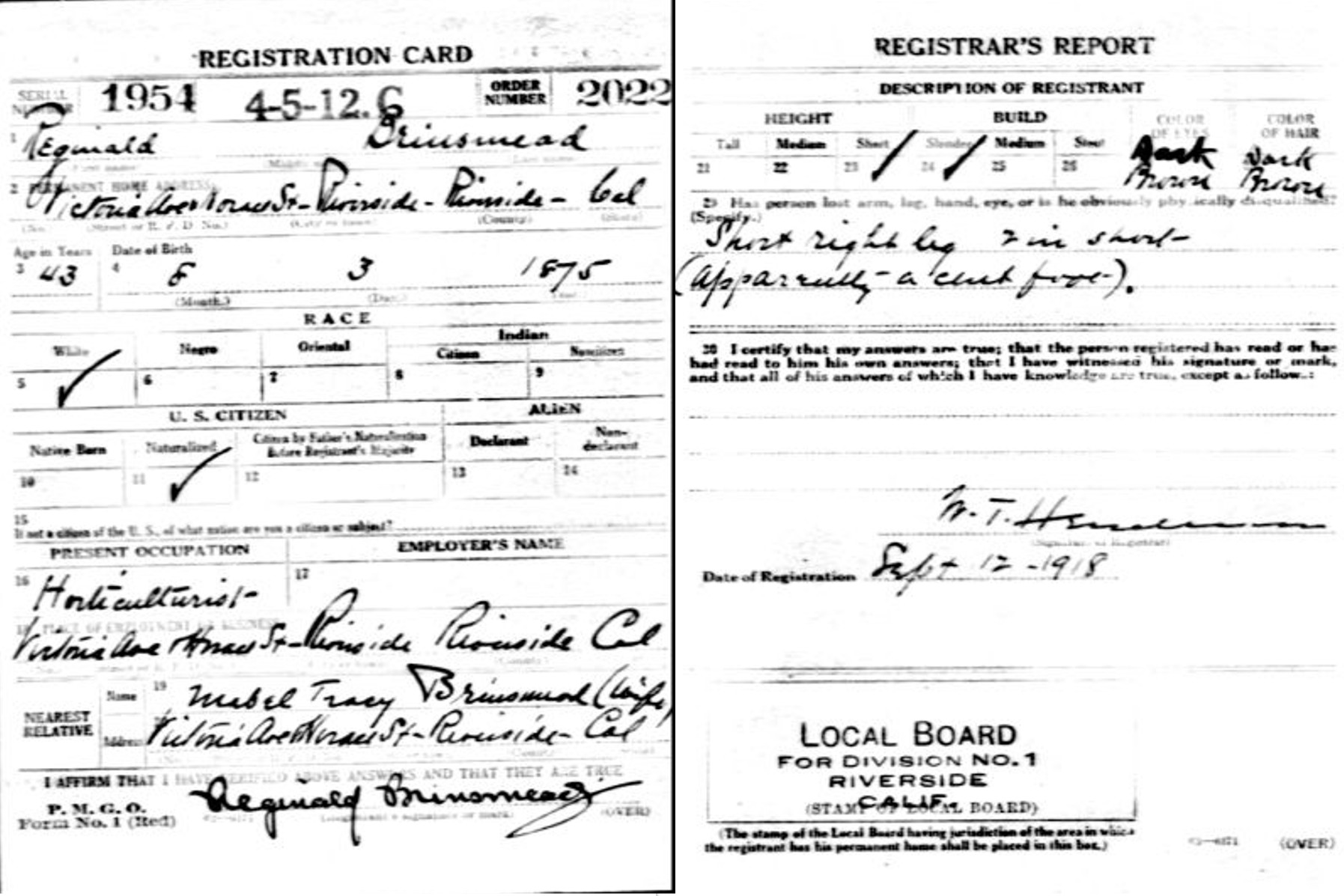 Reginald's WWI draft registration card